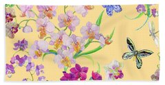 Tossed Orchids Beach Towel by Kimberly McSparran