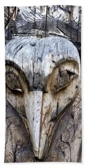 Totem Face Beach Sheet by Cathy Mahnke