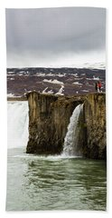 Tourist Exploring Godafoss Waterfall Beach Towel
