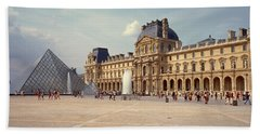 Tourists Near A Pyramid, Louvre Beach Towel by Panoramic Images