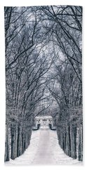 Towards The Lonely Path Of Winter Beach Towel