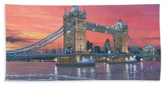 Tower Bridge After The Snow Beach Towel