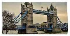 Tower Bridge On The River Thames Beach Towel by Heather Applegate