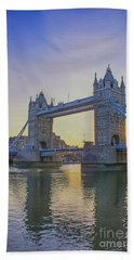 Tower Bridge Sunrise Beach Towel by Chris Thaxter