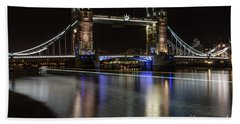 Tower Bridge With Boat Trails Beach Sheet