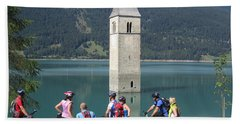 Beach Towel featuring the photograph Tower In The Lake by Travel Pics