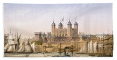 Tower Of London, 1862 Beach Towel by Achille-Louis Martinet