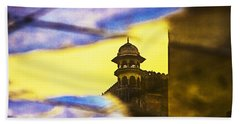 Tower Reflection Beach Towel by Prakash Ghai