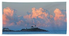 Towering Clouds Over Nubble Lighthouse York Maine Beach Towel