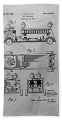 Toy Fire Engine Patent Drawing Beach Towel