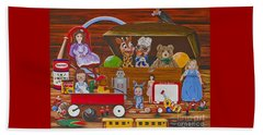 Beach Towel featuring the painting Toys In The Attic by Jennifer Lake