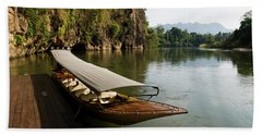 Traditional Thai Long Boat Docked Beach Towel