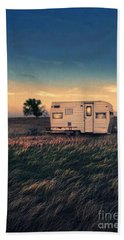 Trailer At Dusk Beach Towel by Jill Battaglia