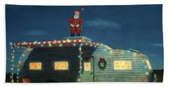 Trailer House Christmas Beach Towel by James W Johnson