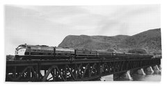 Train Crossing A Trestle Beach Towel