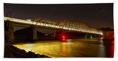 Train Lights In The Night Beach Towel by Miroslava Jurcik