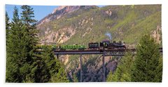 Train Over The Trestle Beach Towel