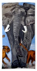 Beach Towel featuring the painting Trampling Elephant by Nora Shepley