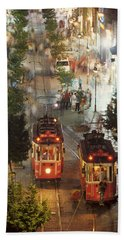 Trams In Beyoglu Beach Sheet