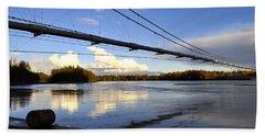 Beach Towel featuring the photograph Transalaska Pipeline Bridge by Cathy Mahnke