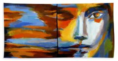 Beach Towel featuring the painting Transition - Diptic by Helena Wierzbicki