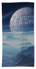 Tranus Alien Planet With Satellite Beach Towel