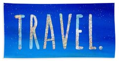 Travel Word Art Beach Towel