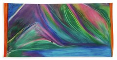Beach Towel featuring the painting Travelers Mountains By Jrr by First Star Art