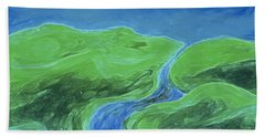 Beach Towel featuring the painting Travelers Upstream By Jrr by First Star Art