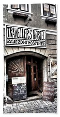 Beach Towel featuring the photograph Travellers Hostel - Cesky Krumlov by Juergen Weiss