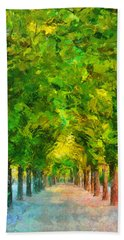 Tree Avenue In The Vienna Augarten Beach Towel