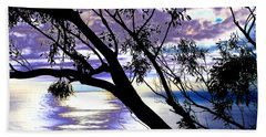Tree In Silhouette Beach Towel