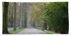 Beach Sheet featuring the photograph Tree Lined Path In Fall Season Bruges Belgium by Imran Ahmed