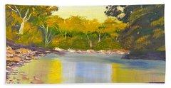 Tree Lined River Beach Towel