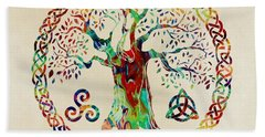 Tree Of Life Beach Sheet by Olga Hamilton