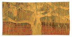 Golden Weeping Tree Beach Towel