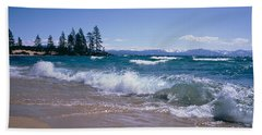 Trees Along A Lake, Lake Tahoe, Nevada Beach Towel