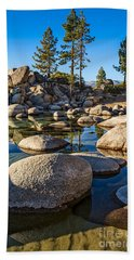 Trees And Rocks Beach Towel