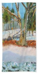 Trees And Snow Plein Air Beach Towel