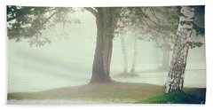 Beach Sheet featuring the photograph Trees In Fog by Silvia Ganora