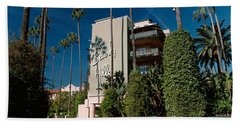 Trees In Front Of A Hotel, Beverly Beach Towel by Panoramic Images