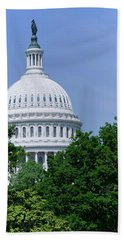 Trees In Spring And U.s. Capitol Dome Beach Towel