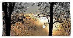 Trees On Misty Morning Beach Towel