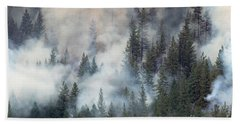 Beaver Fire Trees Swimming In Smoke Beach Towel by Bill Gabbert