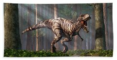 Trex In The Forest Beach Towel