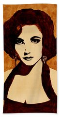 Tribute To Elizabeth Taylor Coffee Painting Beach Sheet by Georgeta  Blanaru