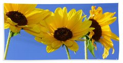 Trio In The Sun - Yellow Daisies By Diana Sainz Beach Sheet