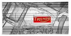 Triumph B W Beach Towel