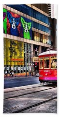 Beach Towel featuring the photograph Trolley Time by Robert McCubbin