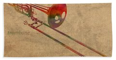 Trombone Brass Instrument Watercolor Portrait On Worn Canvas Beach Sheet by Design Turnpike